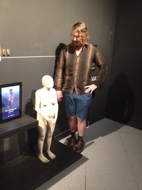 Me with a life-size reconstruction of Homo floresiensis, at a wonderful exhibit on hominid evolution at the Royal Belgian Institute of Natural Sciences.