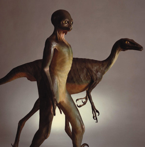 Troodon, a genus of Cretaceous therapods, with a Troodontid: their counterfactual, human-like descendants, imagined by Dale Russell.