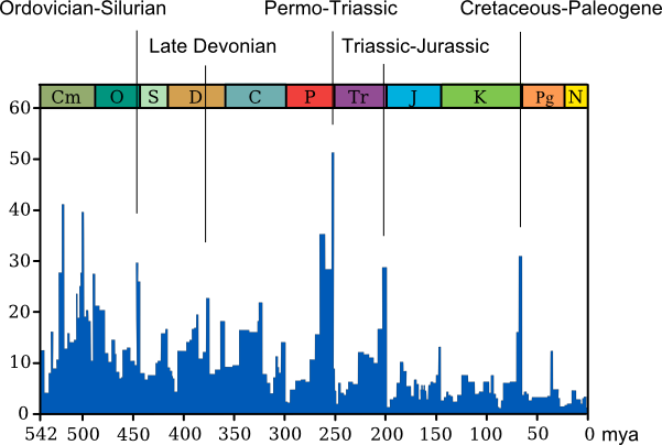 Mass extinctions visualized. The graph's y-axis represents the number of genera to go extinct. Image courtesy Wikimedia Commons.