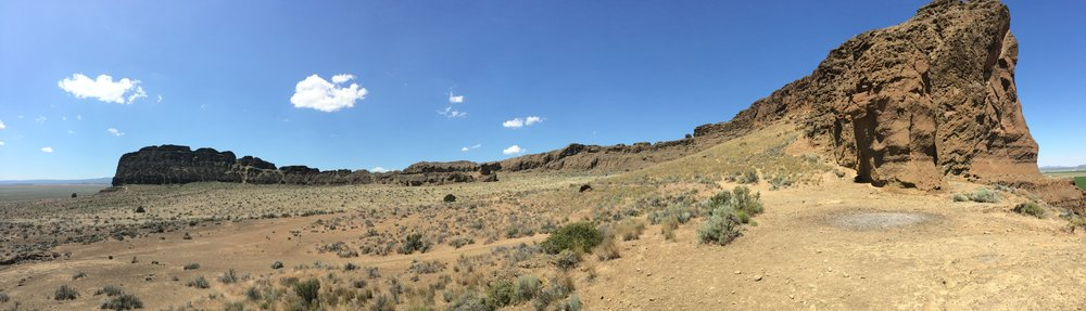 Panoramic view of Fort Rock, OR. Not pictured: students scrambling to take advantage of unexpected cellular service.
