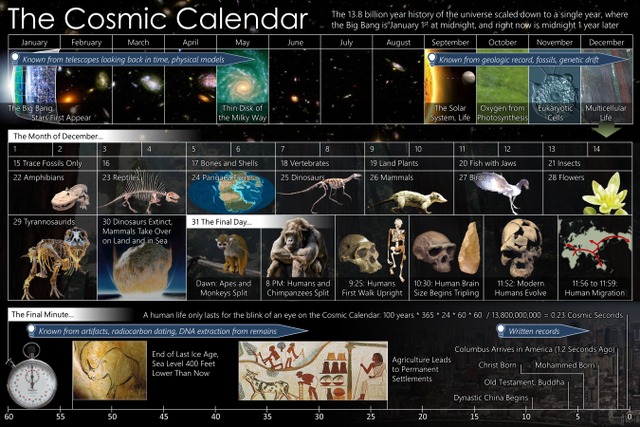 Like my grading schedule, the Cosmic Calendar is very December-heavy. Image courtesy Wikimedia Commons.