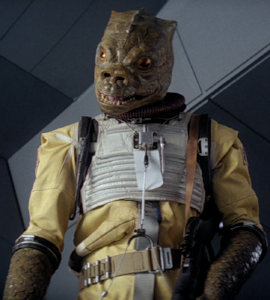 The bounty hunter Bossk, exemplar of the Trandoshan species. Image courtesy Wookieepedia.