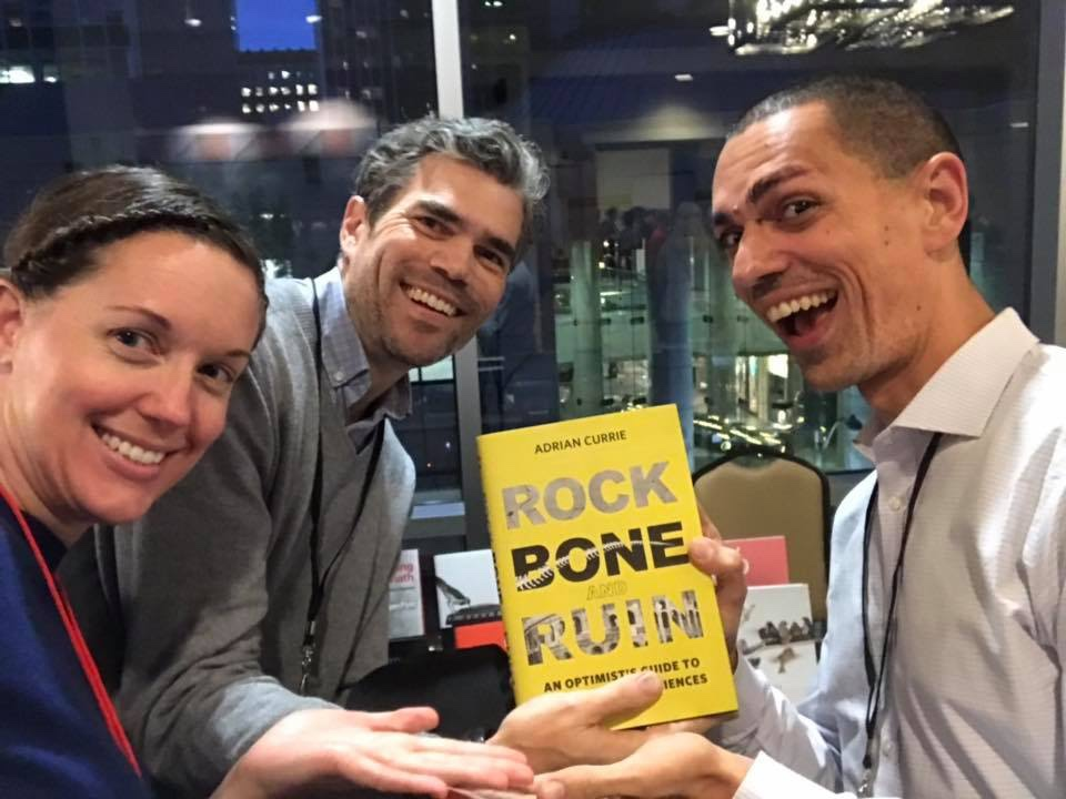 The Extinct crew reconnecting at the Philosophy of Science Association meeting in Seattle, WA, in November 2018. Adrian couldn't make it to this one, but we found him at the book display!