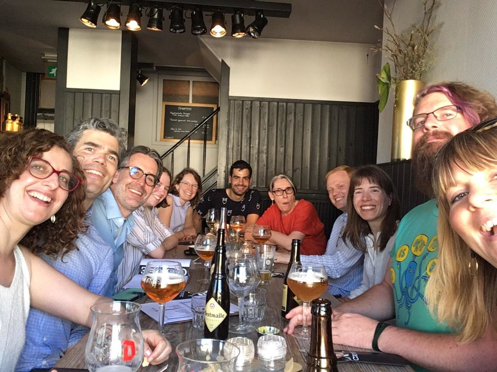 A Joyous meal in Ghent, Belgium, in July, where some of us gathered for the biennial meeting of the Society for Philosophy of Science in Practice. From left to right: Michelle Turner, Derek Turner, Craig Fox, Jennifer Peacock, Caitin Wyiie, Thomas Bonnin, Alison Wylie, Rune Nyrup, Kristin Kokkov, Adrian Currie, Kirsten Walsh.