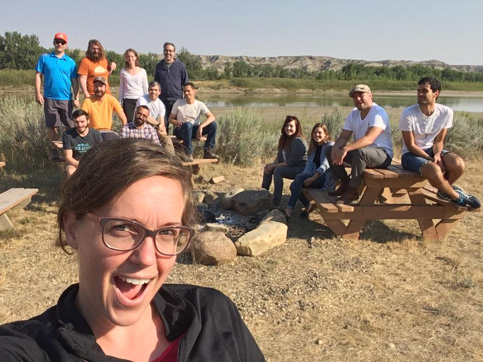 Joyce Havstad captures the crew at the  Philosophy of Paleontology in the Badlands  meeting at Dinosaur Provincial Par