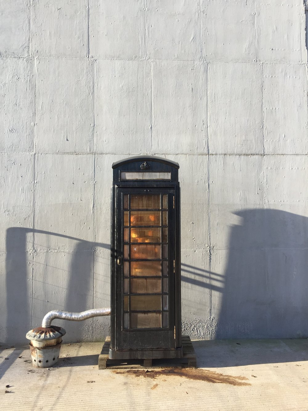 Vintage phone-box smoker at  Westcombe Dairy .   Image: Paul Burton
