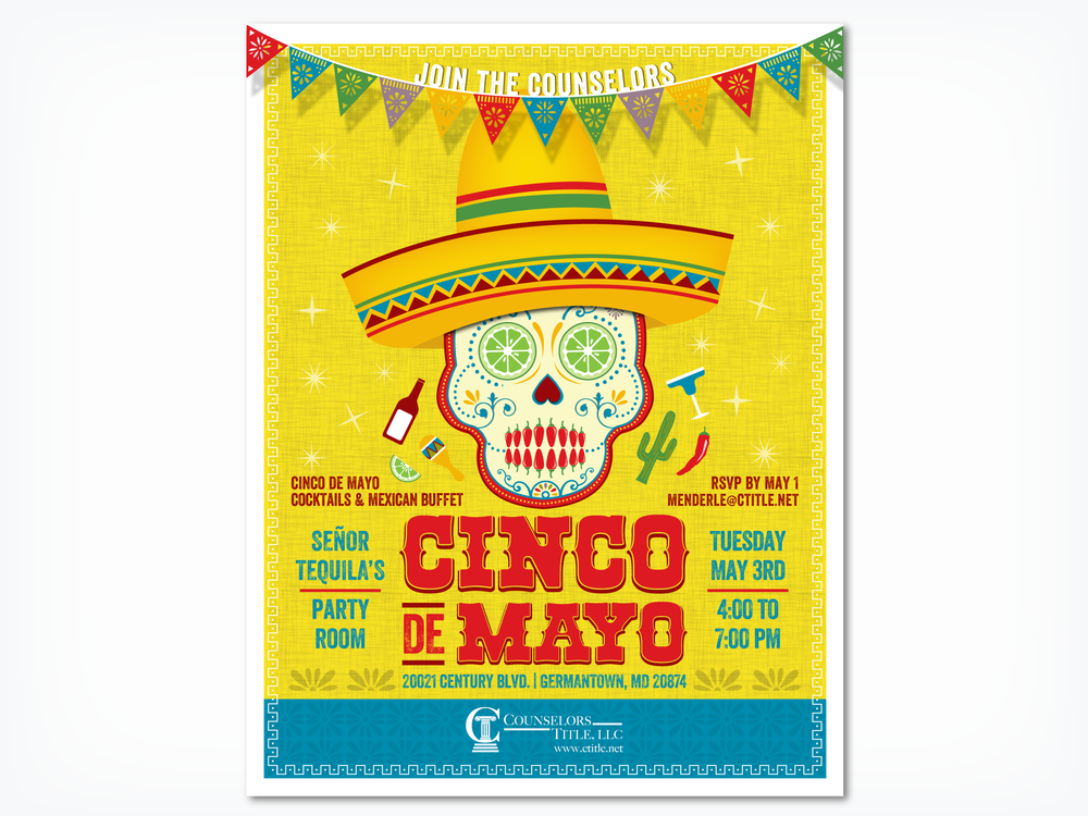 Counselors Title Cinco de Mayo, graphic design, print design, poster design, Cinco de Mayo flyer