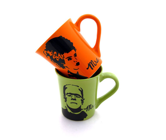 Bride and Bride of Frankenstein mugs. For those mornings where your husband is a total monster.