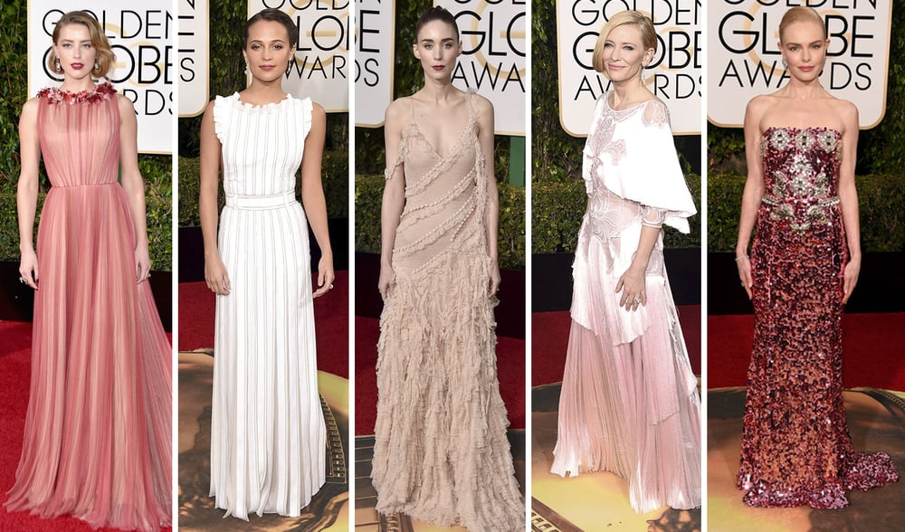 From L to R: Amber Heard in Gucci, Alicia Vikander in Louis Vuitton, Rooney Mara in Alexander McQueen, Cate Blanchett in Givenchy, and Kate Bosworth in Dolce and Gabbana
