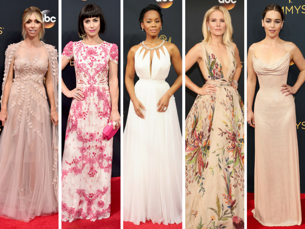 From L to R: Guiliana Rancic in Georges Chakra Couture, Constance Zimmer in Monique Lhuillier, Anika Noni Rose in Tadashi Shoji, Kristen Bell in Zuhair Murad, and Emilia Clarke in Atelier Versace