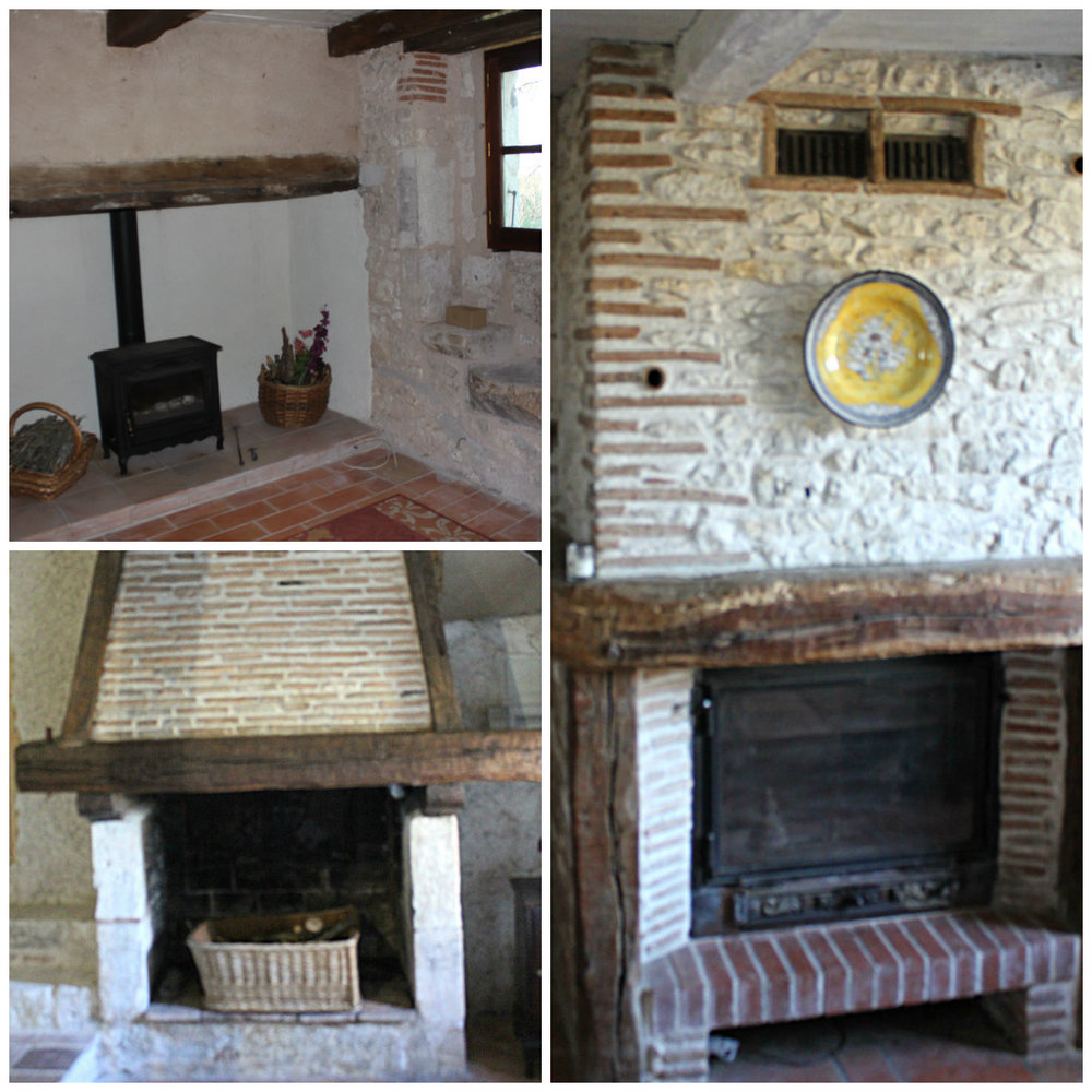 The three fireplaces in the gite. The stove on the right is the one to be replaced. The fireplace bottom left houses the bread oven.
