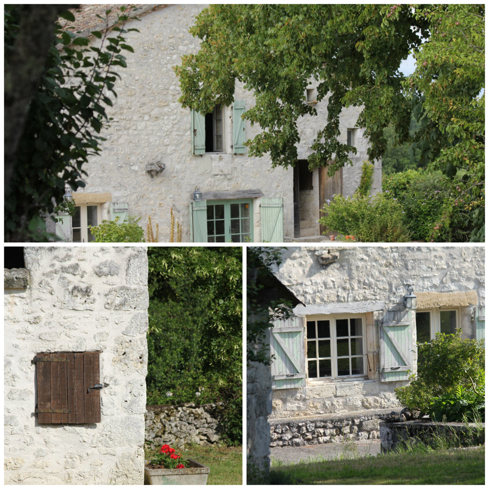 Top: Shutters on the south elevation. Bottom left: Shutter on the barn. Bottom right: The summer kitchen window and door.