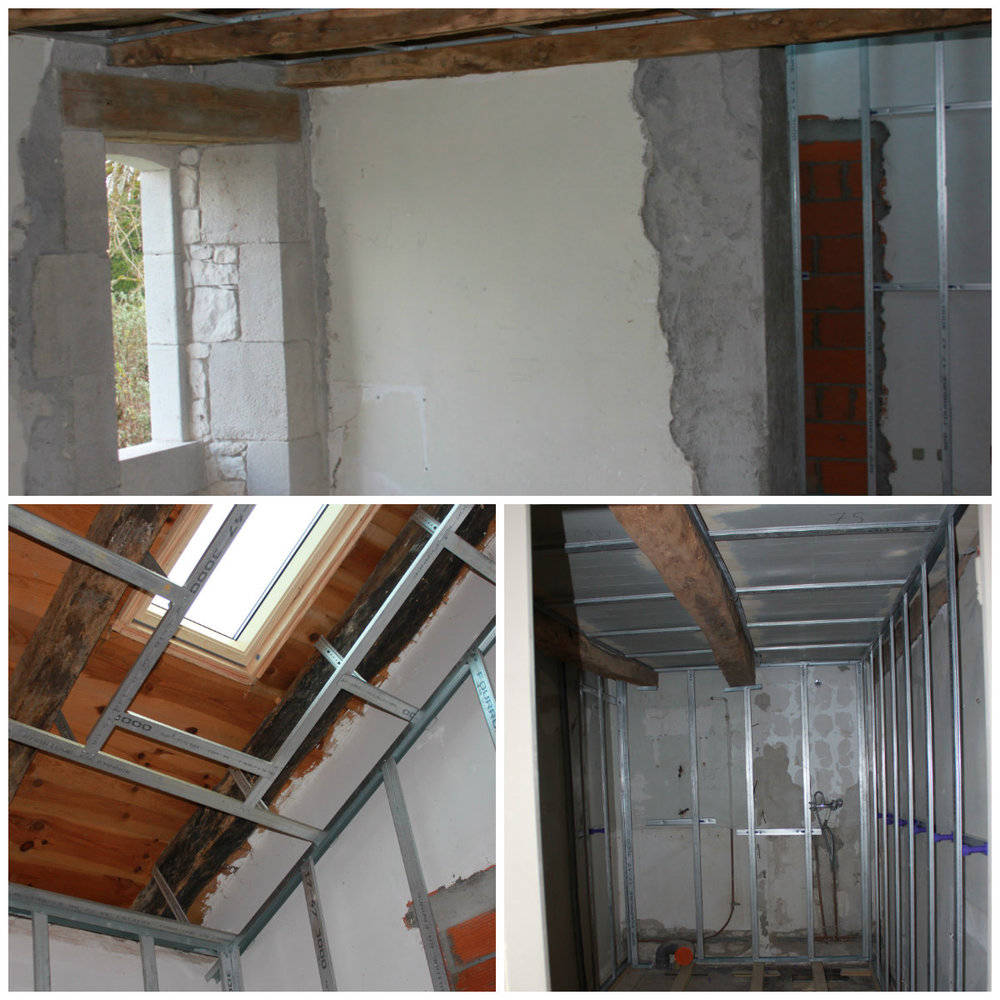 Top: the new window in Tournon and the entrance to the bathroom. Bottom left: the velux in Tournon bathroom. Bottom Right: the shower room in Montaigu. The steel has gone in for insulation and to ensure straight walls for tiling.