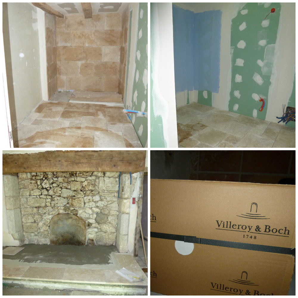 Top right and left:Montaigu and Tournon ensuites. Bottom left.:the fireplace gets the travertine experience. Bottom right: cream wall tiles.
