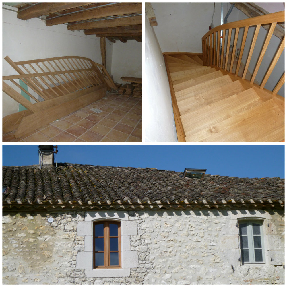 Top left: stairs in waiting. Top right: down to the first floor. Bottom: the new window frame