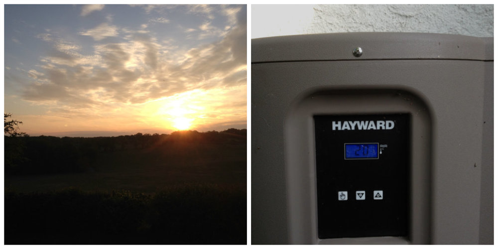 Sunrise from the bolly and the pool heater doing its stuff.