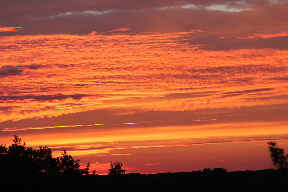 A spectacular sky at dusk. Photo taken from the ridge a few hundred metres from the Farmhouse.