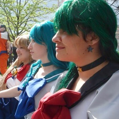 From #acen 2009!!!! @jessicajolt, @katy.lacy, and I in some Sailor Moon cosplays. (Jess and I in Eternal Pluto and Neptune and Katy in summer uniform Usagi, I believe!) Look at us as wee babies! GAZE UPON MY TERRIBLE WIG AND BOWS. I definitely would like to revisit some Sailor Moon stuff some way just to see how far my construction skills have come!  #cosplay #sailormoon #throwback