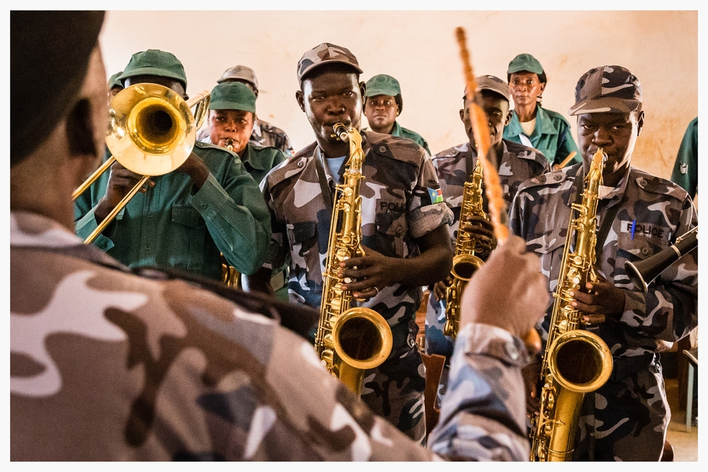 Police band, WBEG State, South Sudan.   Photo © Marcus Perkins