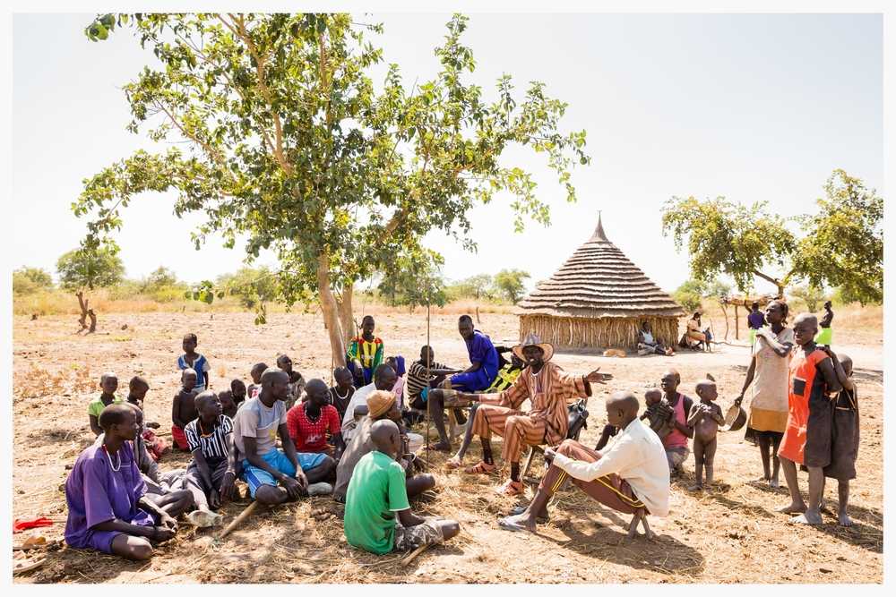 Community meeting, Lakatoc cattle camp, Tonj North, South Sudan  . Photo © Marcus Perkins