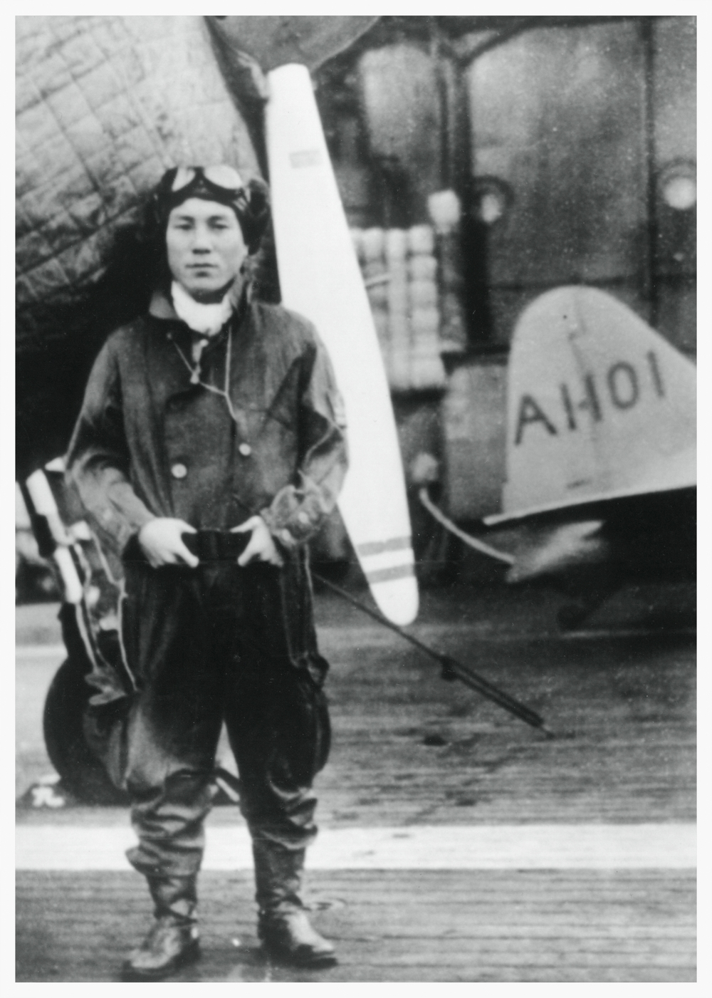 Zenji Abe on the aircraft carrier, Akagi, 1941.
