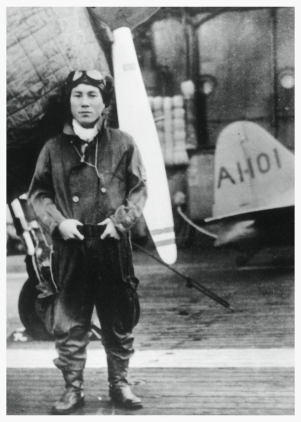 Zenji Abe on the aircraft carrier, Akagi, 1941.
