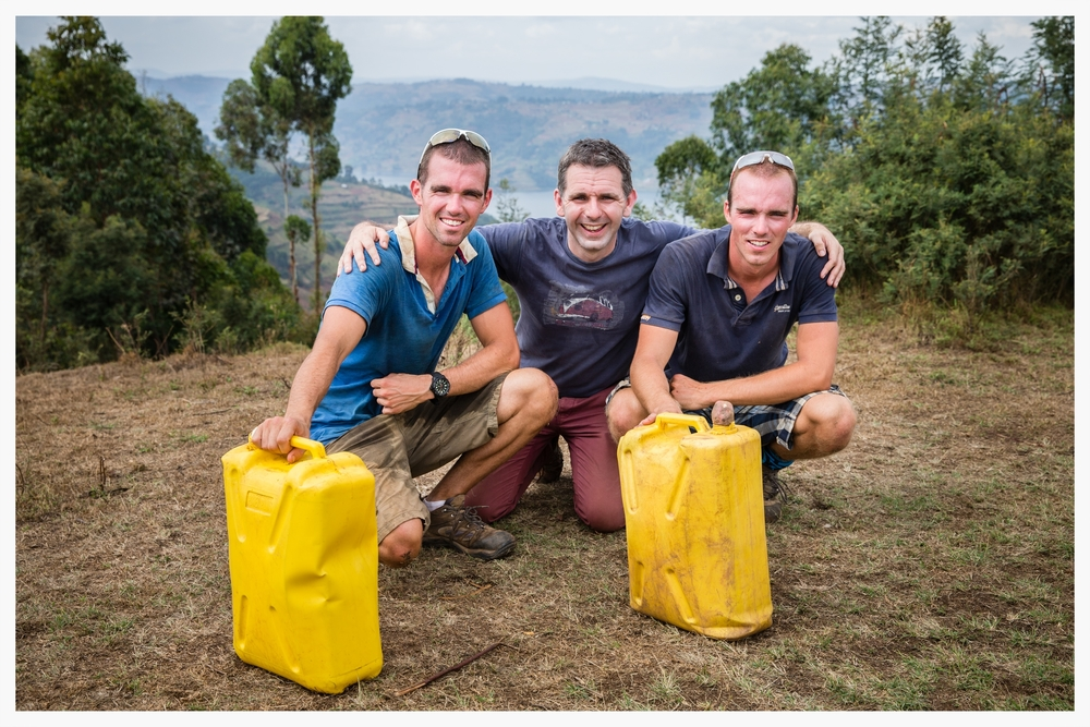 Above: Richard and Peter Chambers with their friend Tim Magowan who arranged the trip to Kabale in south west Uganda.