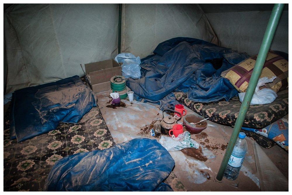 Tent after storm at the TCN refugee camp,Ar Ruwayashid. Photo © Marcus Perkins