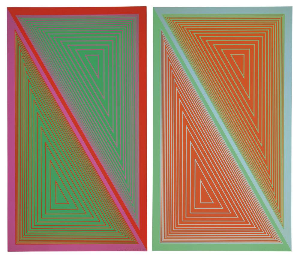 Richard Anuszkiewicz  Triangulated Green  &  Triangulated Orange   1977