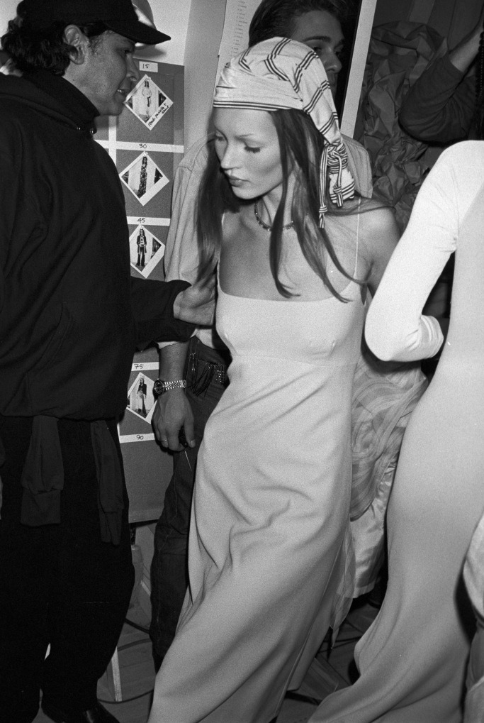 Kate Moss backstage at the 1993 Grunge Runway Show