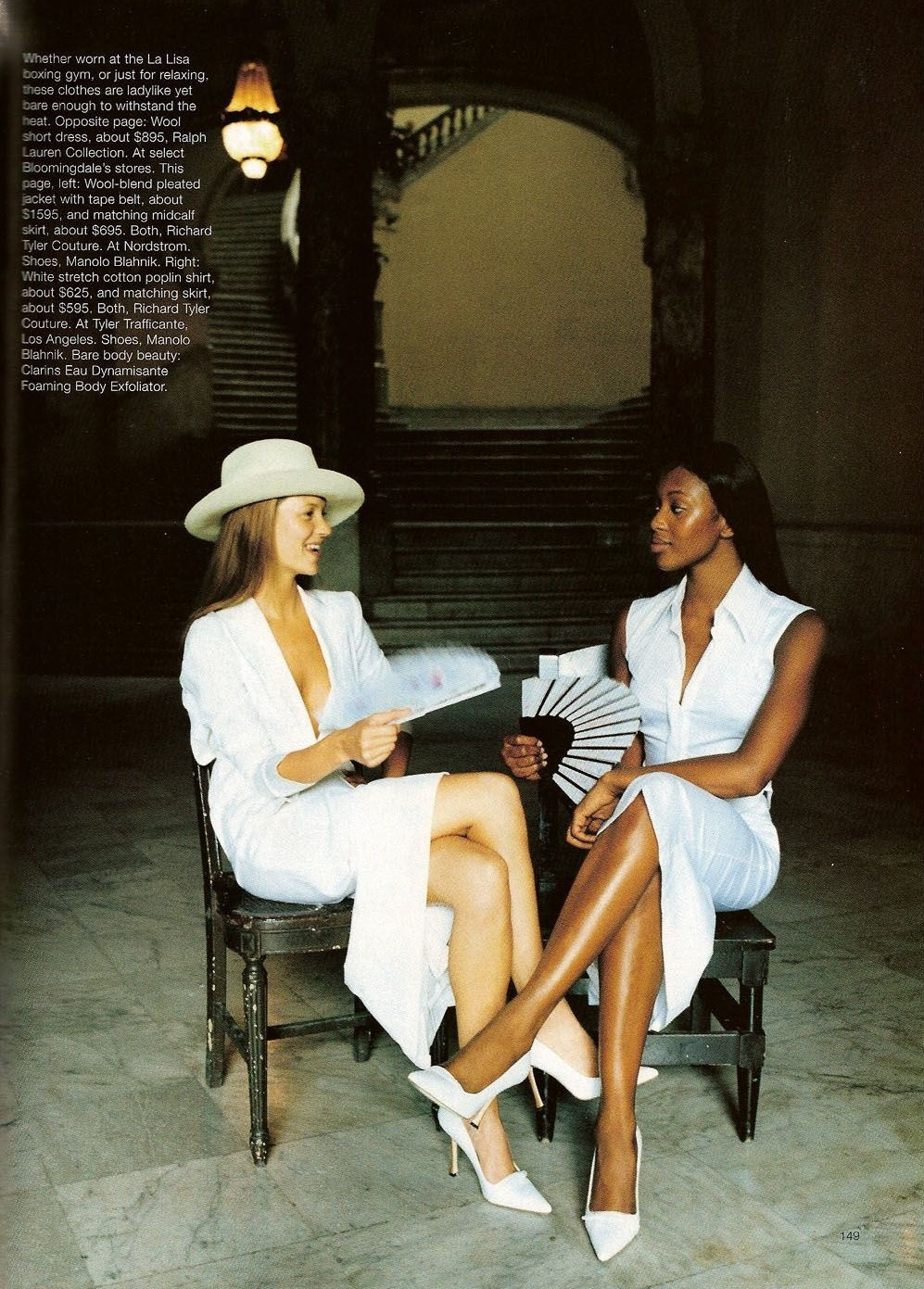 Kate Moss & Naomi Campbell , photographed by Patrick Demarchelier for  Harper's Bazaar US May 1998