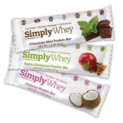 Simply Whey bars are free from gluten, nuts, soy, and are low in sugar.