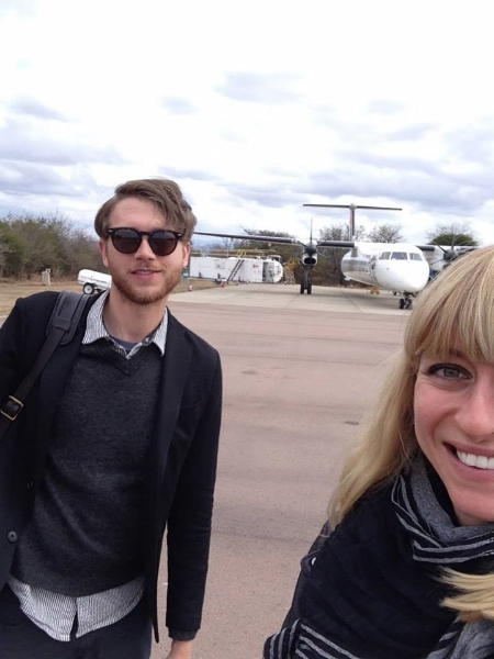 Boarding a plane in South Africa after a safari on our honeymoon!