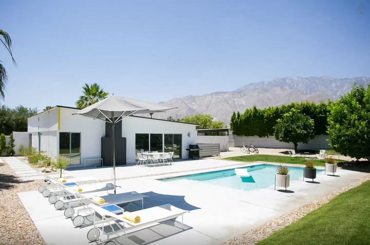 This is an incredible Airbnb home we stayed at in Palm Springs, California. Ten times bigger than any hotel!