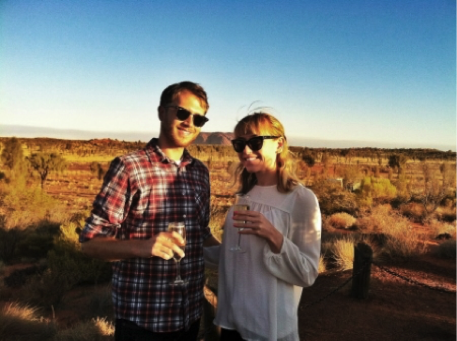 Cheers! My husband and I in the Australian Outback!