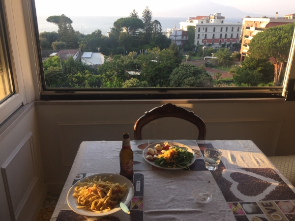 A beautiful dinner we made in our airbnb in Sorrento on the coast of Italy!