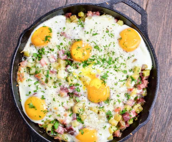 Corned Beef Hash Baked Eggs, Photo Credit: Cooking and Beer