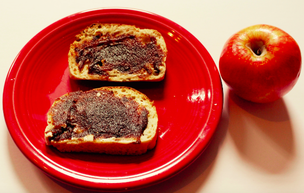 Apple Butter on sourdough bread from Bread Srsly that's nut-free, gluten-free, and vegan
