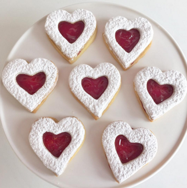 Heart Shaped Jam Cookies Dusted With Sugar, Photo Credit: Short & Sweet Bakeshop