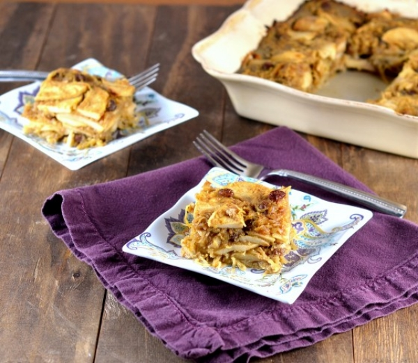 Gluten-Free, Nut-Free, Dairy-Free Sweet Spaghetti Squash Kugel with Apples & Raisins, Photo Credit: Cara's Cravings