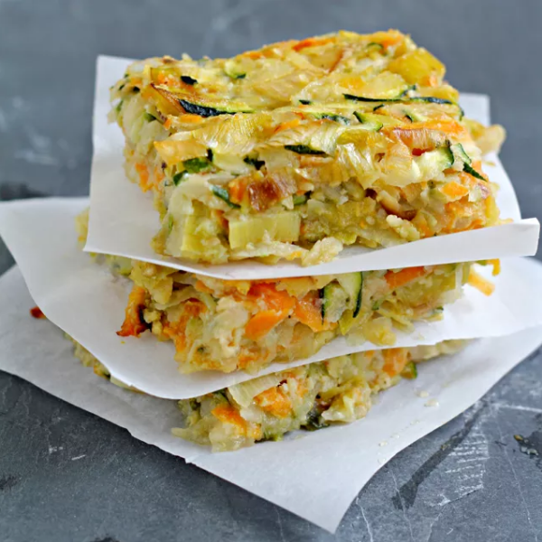 Gluten-Free, Nut-Free, Dairy-Free Vegetable Kugel with Caramelized Leeks, Photo Credit: What Jew Want to Eat