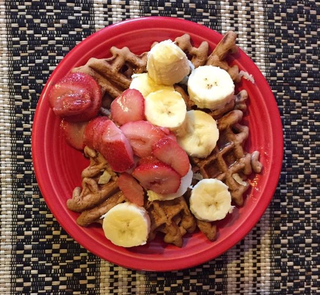 Strawberry Banana Vanilla Power Protein Waffles, Gluten-Free, Nut-Free, Dairy-Free