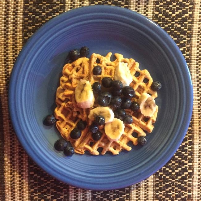 Blueberry Banana Coconut Power Protein Waffles, Gluten-Free, Nut-Free, Dairy-Free