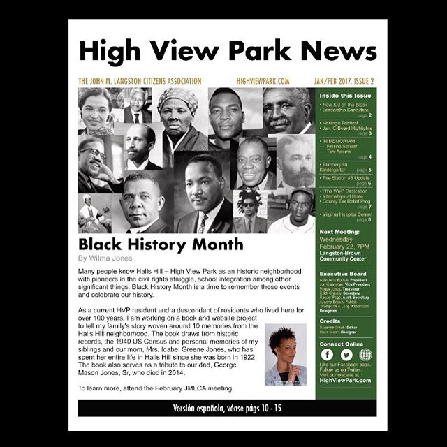 Our cover article is by HHHVP resident Wilma Jones. Jan/Feb 2017, High View Park News // Visit highviewpark.com // #arlingtonva #highviewpark #hallshill #thewall #firestation8 #heritagefestival2017 #blackhistorymonth #virginiahospitalcenter #arlingtoncounty #citizensassociation #johnmlangston