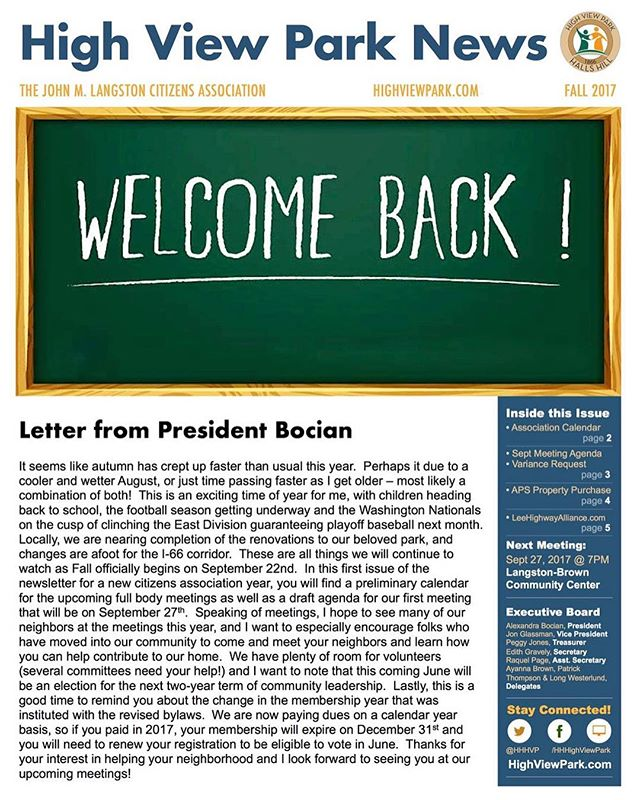 First day of school, First issue of HVPN for the civic year. In this issue we cover the association calendar for the next year, the Sept 27th meeting agenda, a variance request, and an APS property purchase. Go to our website to comment on individual articles and view the full print PDF. #highviewparkva #hallshill #arlingtonva #citizensassociation #backtoschool #backtowork