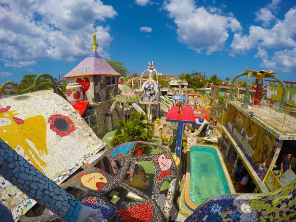 Fusterlandia's brightly colored, mosaic-covered structures