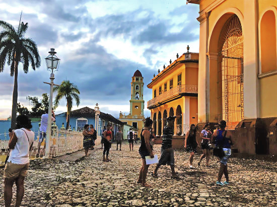 View of the historic Bell Tower from  La Plaza Central  (Town Square) in Trinidad.