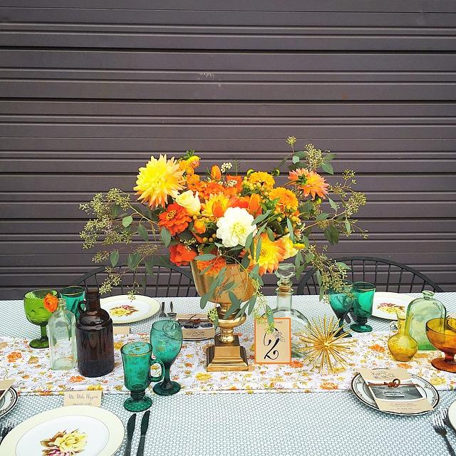 Sarah Renard Floral 60s Inspiration Centerpiece