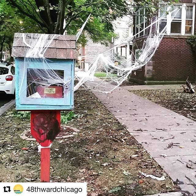 This Little Free Library is ready for Halloween, how about yours? #scarystories #littlefreelibrary #edgewaterreads