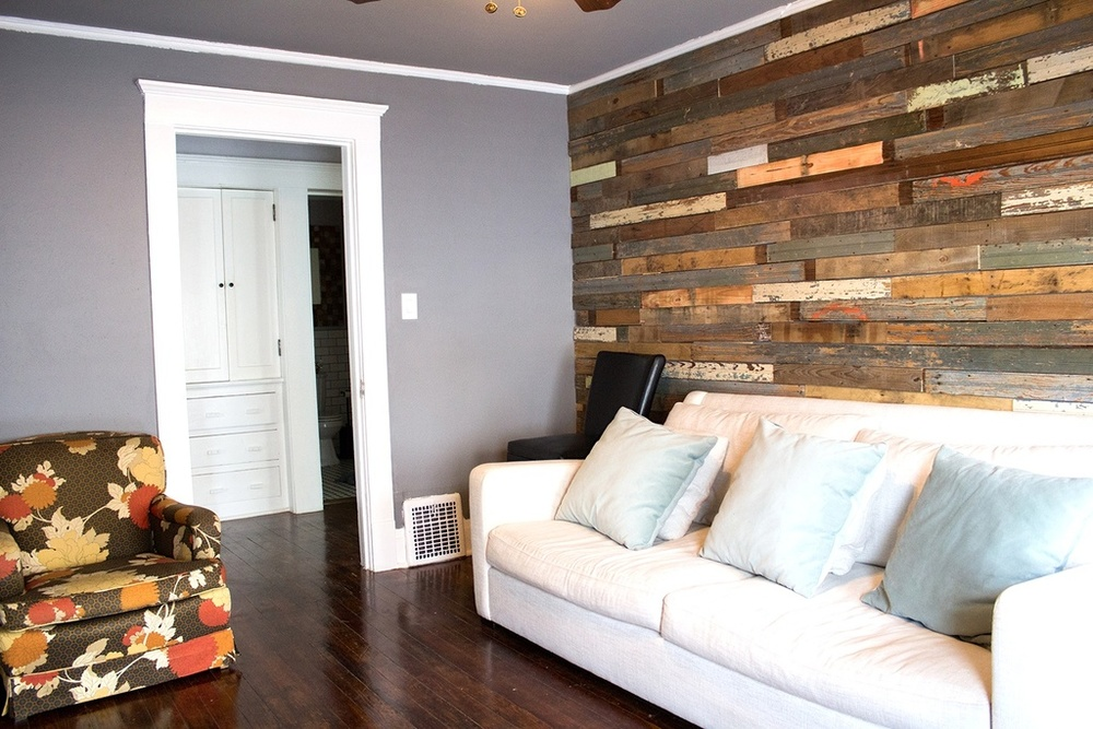 This is a reclaimed wood wall that I did at our old house on S. Adams Street using old bead board. I wanted something a little different for the guest room at our new house.